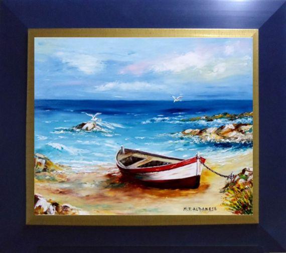 TABLEAU PEINTURE Tableaux de Provence Bord de mer, marine barque, pêche, roche Peintres de Provence Marine Peinture a l'huile  - Barque sur la plage