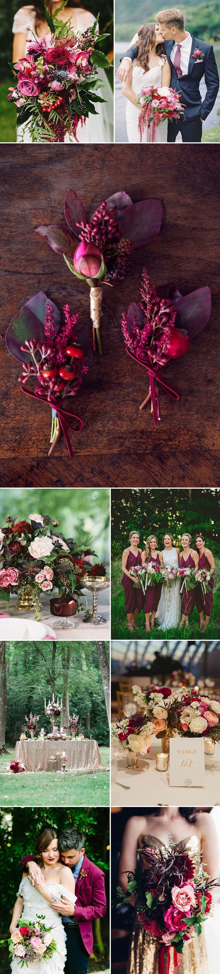 Berry is a striking, artful hue that makes a divine wedding color option. Make your wedding fabulously glamorous by pairing rich berries with elegant golds and dramatic navy blues. This versatile color has beautiful tonal ranges that works for all seasons