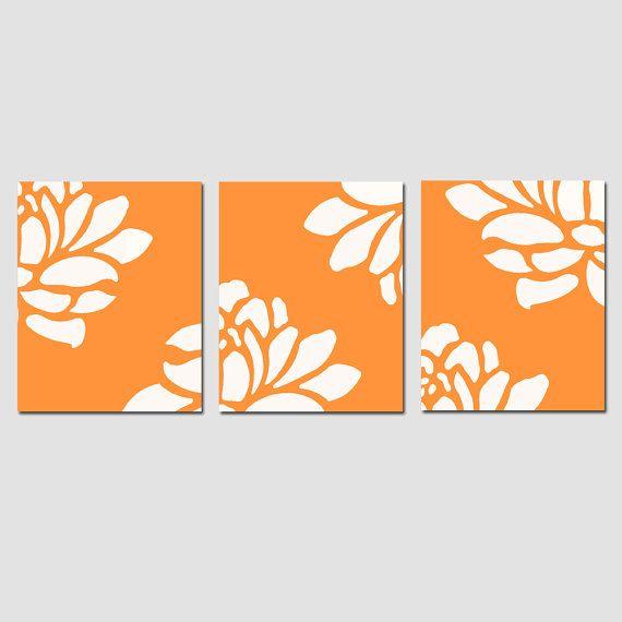 Trio Floral moderno  juego de 8 x tres 10 impresiones  elija