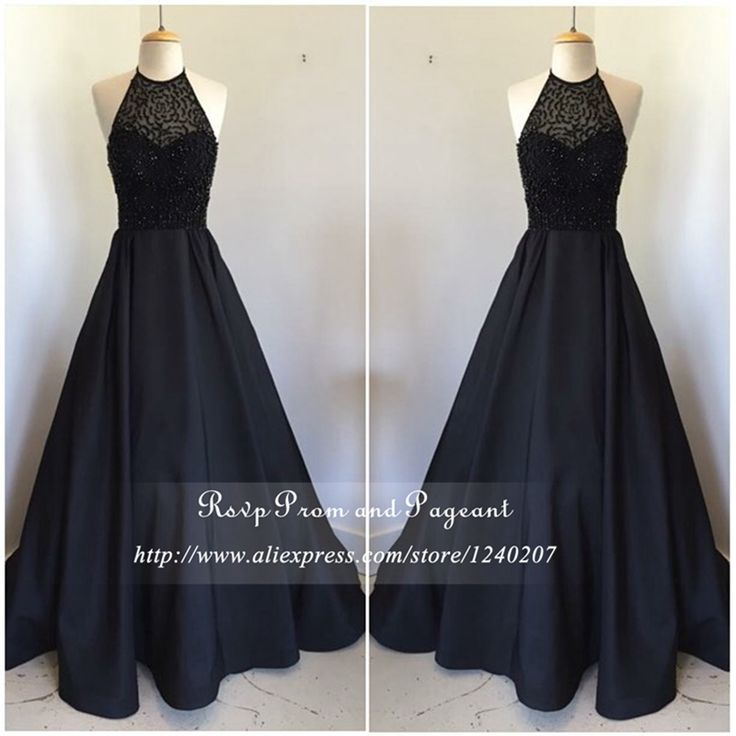 A line black dress halter