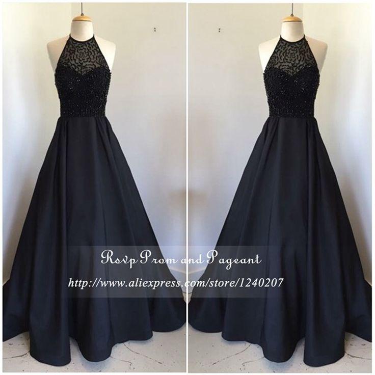 Real Photos Long Black Prom Dresses 2016 Halter Off The Shoulder Top Rhinestone Stretch Satin Prom Dress