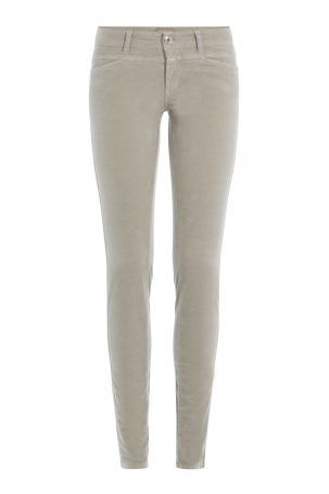 Closed Closed Skinny Jeans Pedal Star aus Samt – Grau