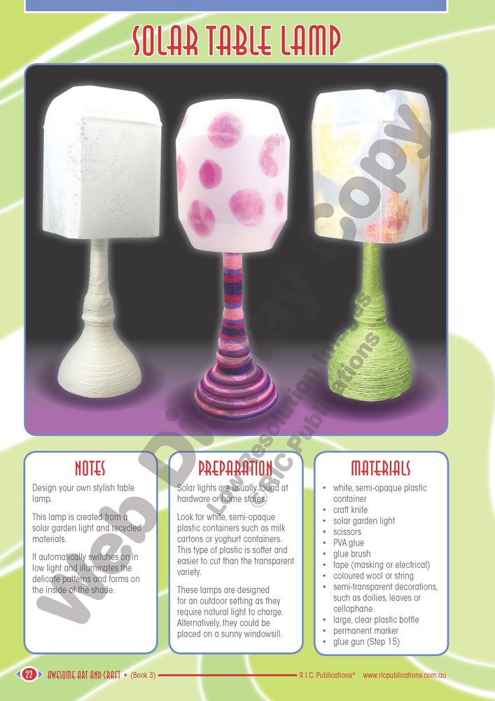 DIY solar table lamp craft activity. It is really cool to see some educational suppliers producing books with modern art and craft ideas for school children. This DIY solar lamp classroom activity is a great idea and enables teachers to combine both art and science into a single lesson! http://www.ricgroup.com.au/product/awesome-art-and-craft/