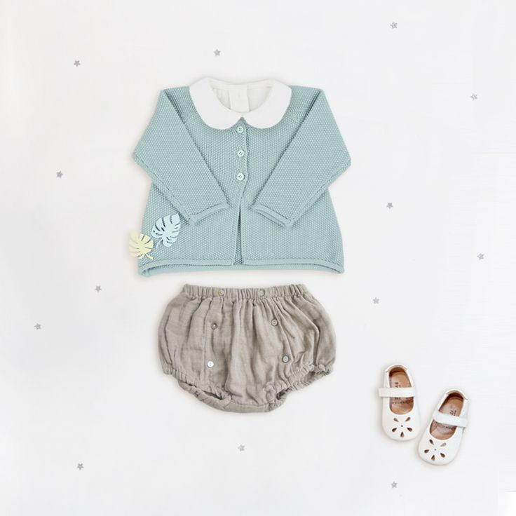 Linen bloomers with our baby mint knitted cardigan ♡