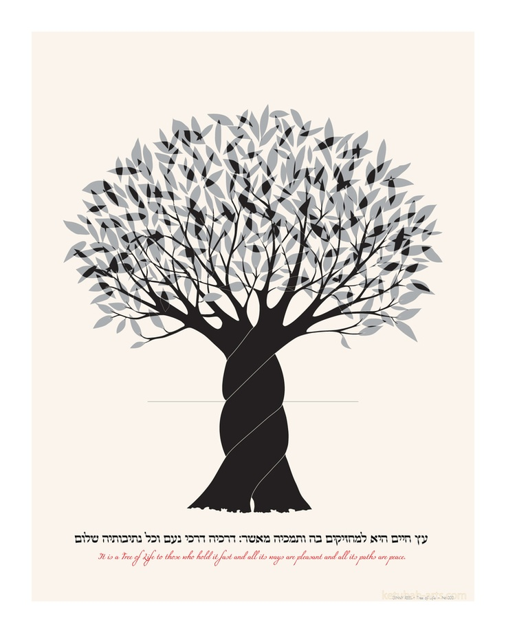 It is a tree of life to those who hold fast to it. Tree of Life - Jewish Art Print from www.Ketubah-Arts.com