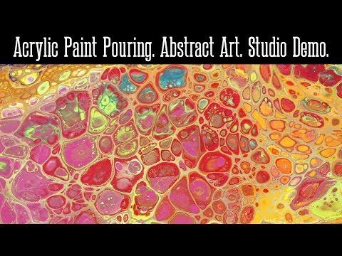 Acrylic Paint Pouring. Abstract Art. Studio Demonstration. Liquitex Basics. Elmer's Glue - YouTube