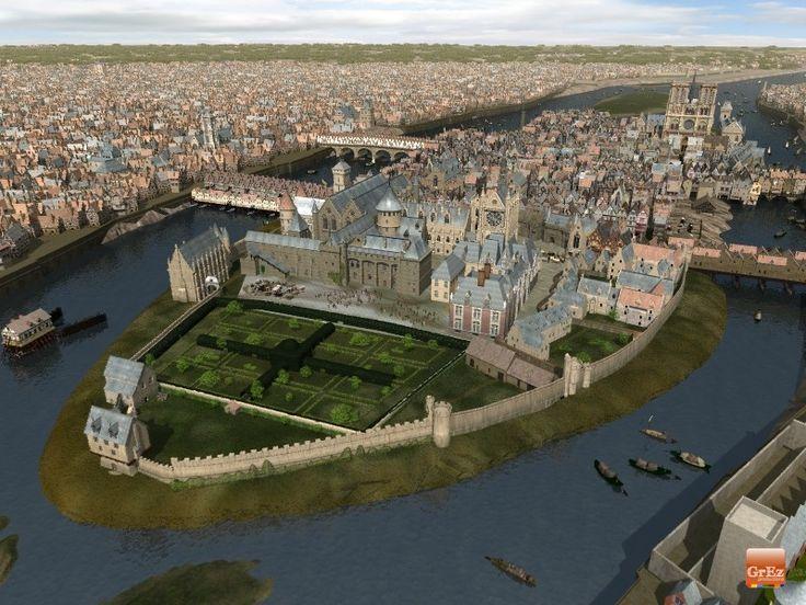 Paris vers 1550: l'île Saint Louis n'est pas encore habitée et le Pont Neuf n'est pas construit.
