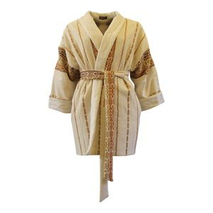 Image of Beige kimono jakke med hvidt thermo foer