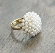 Min Order $10(Mix Order)Free Shipping!The noble and elegant temperament, mushroom head white pearl ring $0.52