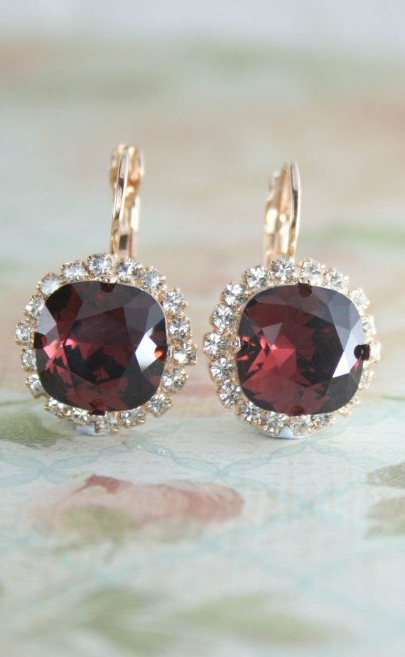 Burgundy crystal leverback earrings   burgundy wedding   marsala wedding   www.endorajewellery.etsy.com