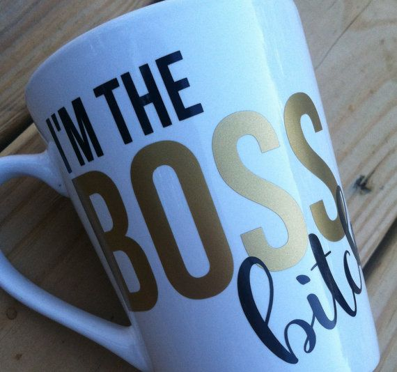 boss coffee mugs with sayingsfunny coffee by JustStickItVinylCo