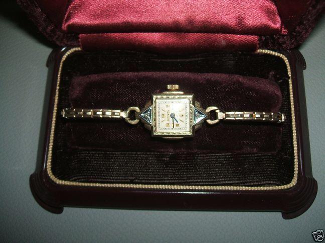ECHTE Bulova 1930er Armbanduhr 10K Gold Filled Uhr Diamanten 10K Gold F. Band