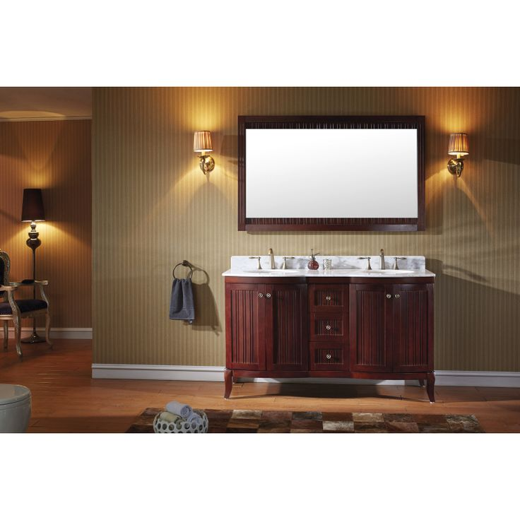 Make Photo Gallery Virtu USA Khaleesi Double Round Sink Bathroom Vanity In Antique Cherry With Italian Carrara