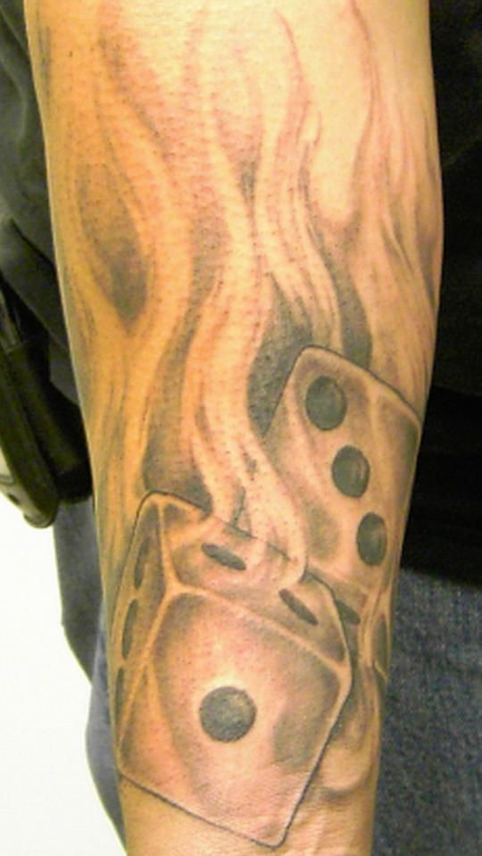 Tattoo Of Dice On Fire Tatts Flame Tattoos Fire Tattoo Sleeve