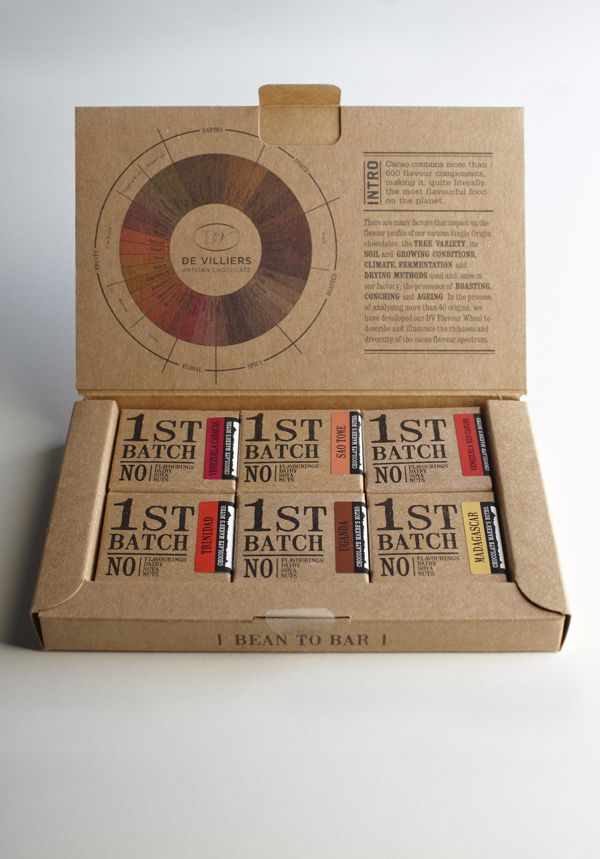 first batch chocolate tasting box packaging design with an instructive tasting wheel by jane