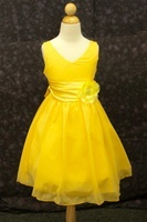 Yellow wrinkled chiffon flower girl dress-best flower girl dress