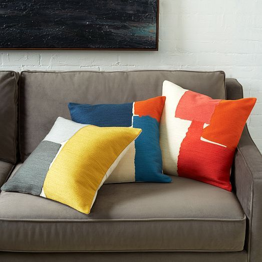steven alan abstract crewel pillow covers from west elm color block pinterest neutral. Black Bedroom Furniture Sets. Home Design Ideas