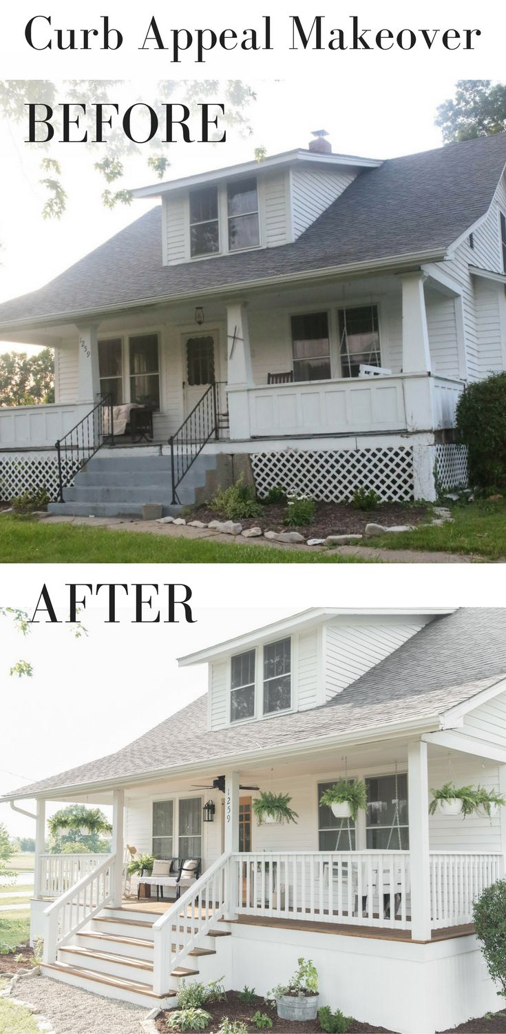 Farmhouse font porch curb appeal makeover