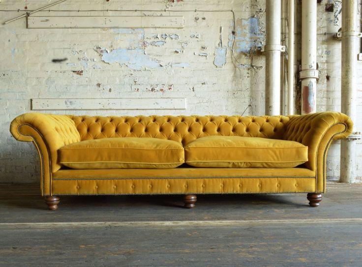 Modern Handmade Mustard Rutland Velvet Chesterfield Sofa Front
