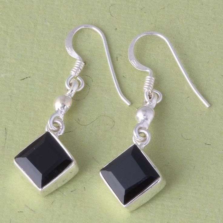 925 STERLING SILVER EXCLUSIVE BLACK ONYX HANDMADE EARRING 3.75g DJER1909 #Handmade #EARRING