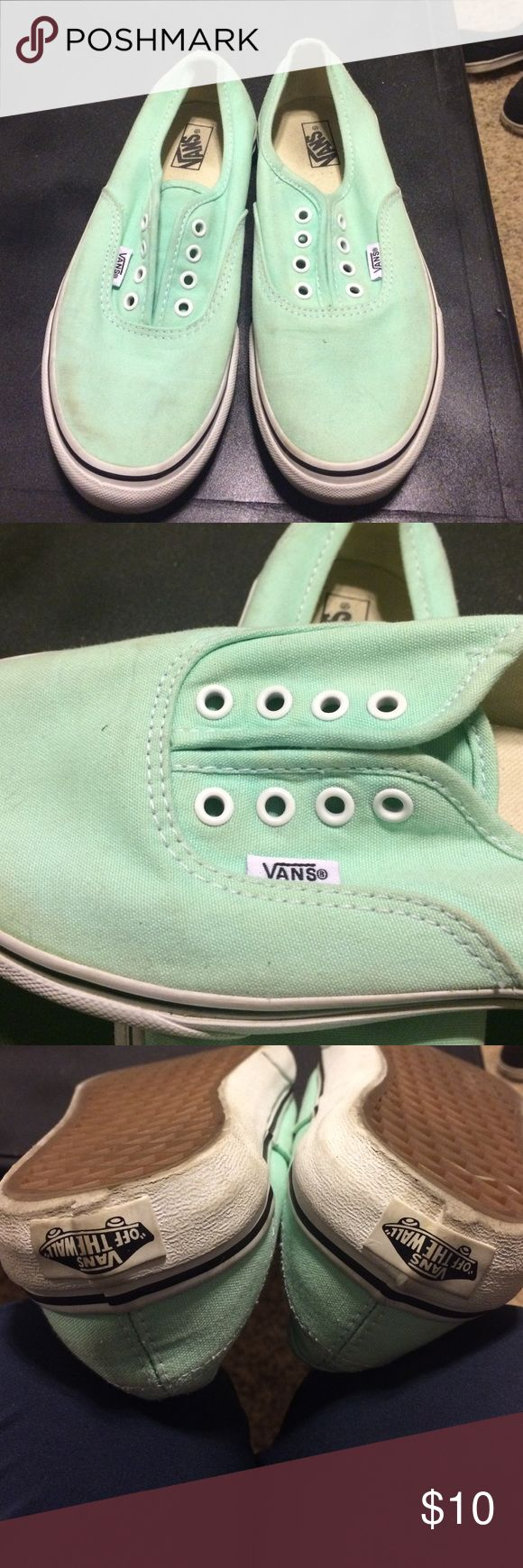 Vans mint green used kids size 4 Mint green vans size kids 4. Used but in good condition. New laces included. Vans Shoes Sneakers