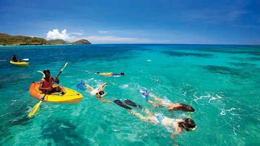Snorkeling in crystal clear water in the Yasawa Islands, FIji #ocean #water #active #activity #paddling #ocean #flippers #snorkeling
