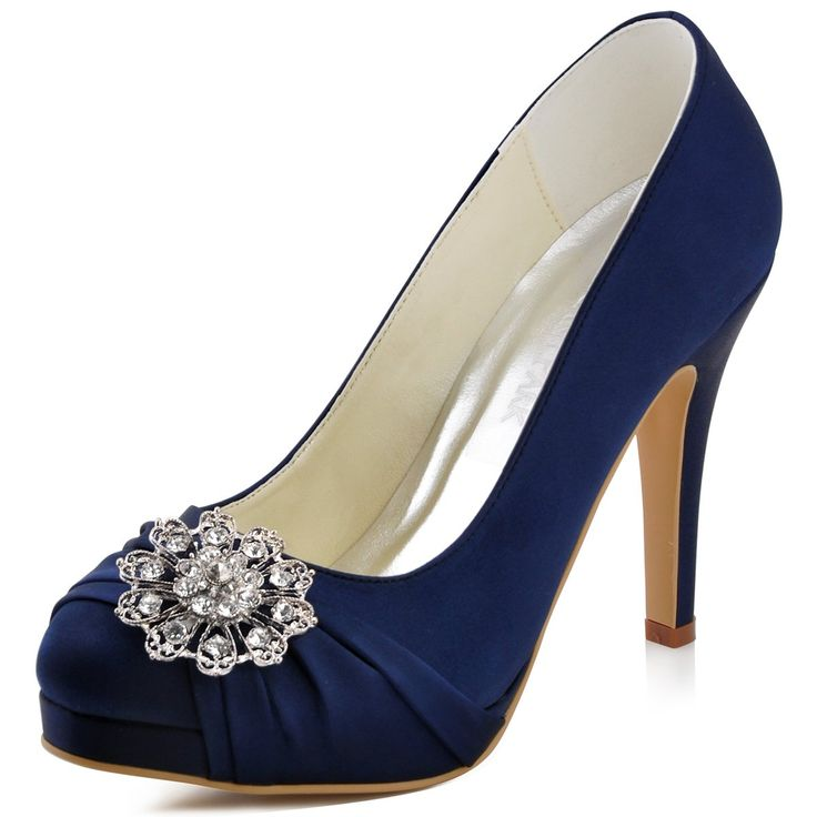 Elegantpark EP2015-PF Satin Round Toe Platforms Rhinestones Women Wedding Shoes Navy Blue UK 7