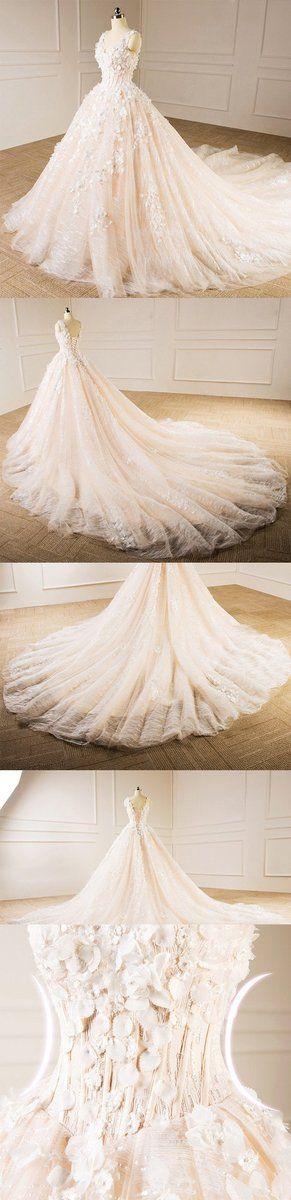 Elegant V Neckline Lace Long Tail Wedding Dresses, Custom Made Wedding Dresses, Cheap Wedding Gowns, WD218