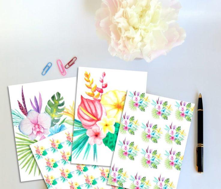 Scrap Papers Tropical Flowers - Feuilles de papier fleurs tropicales -