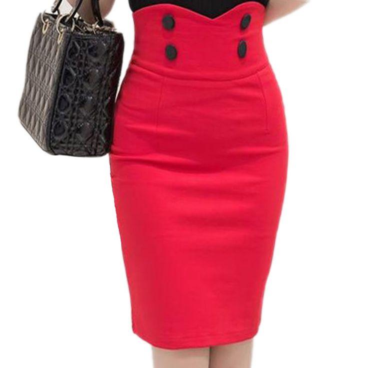 2017 Hoge Elastische Vrouwen Rokken Sexy Slanke Effen Kleur Zwart rode double knop hoge taille potlood rokken voor vrouwen maat S-5XL