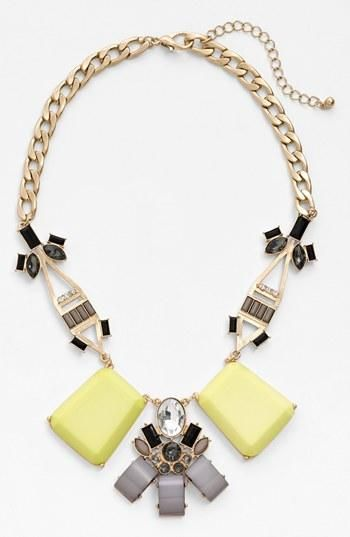 Pretty yellow and grey art deco necklace.