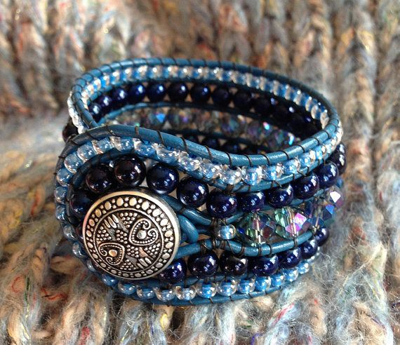Stunning!  5 Row Blue LEATHER Wrap Bracelet Cuff Navy by TwinklingOfAnEye, $62.00....use fabric, upholstery.