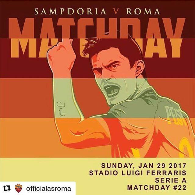#Repost @officialasroma with @repostapp ・・・ #MatchDay! 🔶🔴 Carichi❓ Qual è il vostro pronostico per #SampRoma❓ *** #Samp v #Roma is not far off❗️ What is your prediction for the game today❓ *** Follow @officialasroma on Instagram *** #DajeRoma #ForzaRoma #giallorossi #seriea #calcio #football #italia #perotti #graphic #infographic #design #marassi #romaart #sampdoria #genova #ferraris