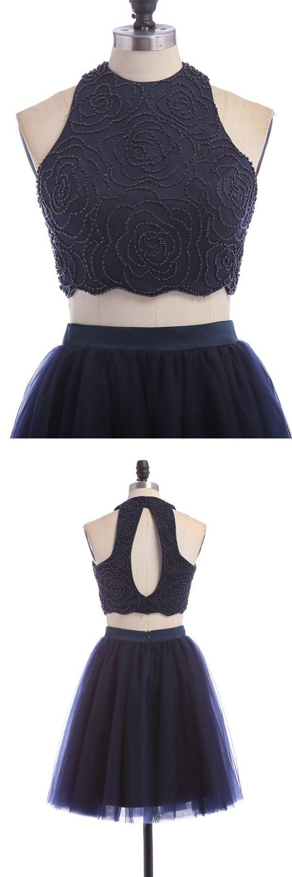 2016 homecoming dress,homecoming dresses,chic homecoming dresses,two-piece homecoming dresses,fancy navy two-pieces hoco dresses,halter open back hoco party dresses,teen fashion
