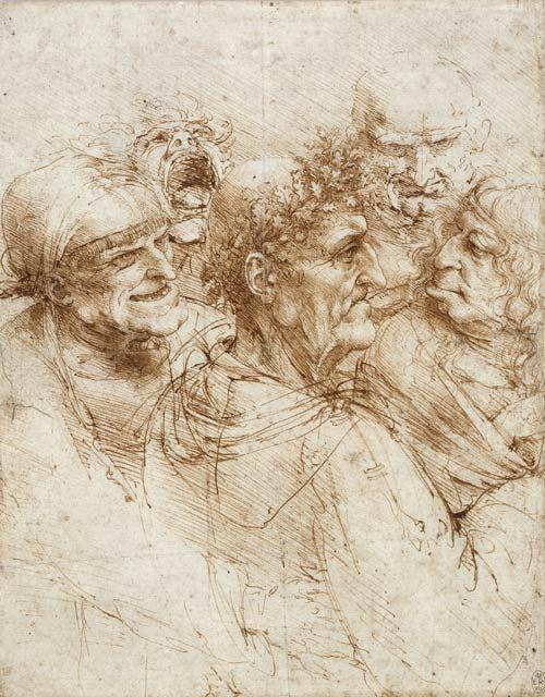 Leonardo da Vinci online  Study of five characters 1493
