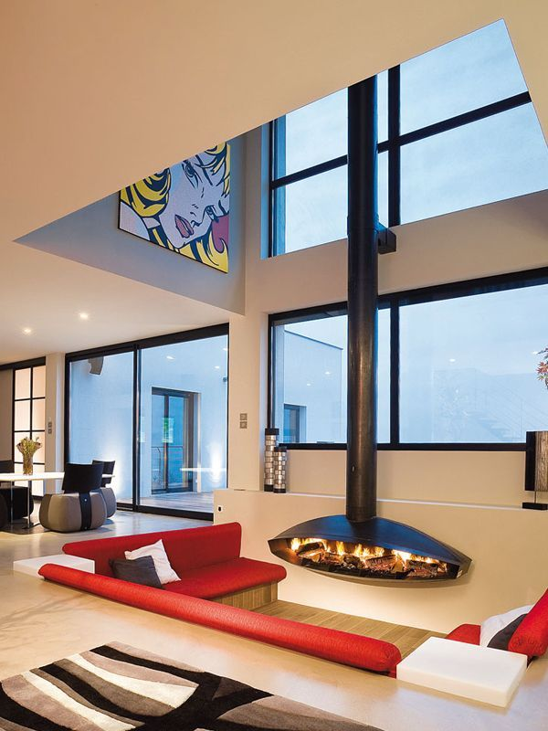 Antefocus fireplace enlivens this cool and elegant