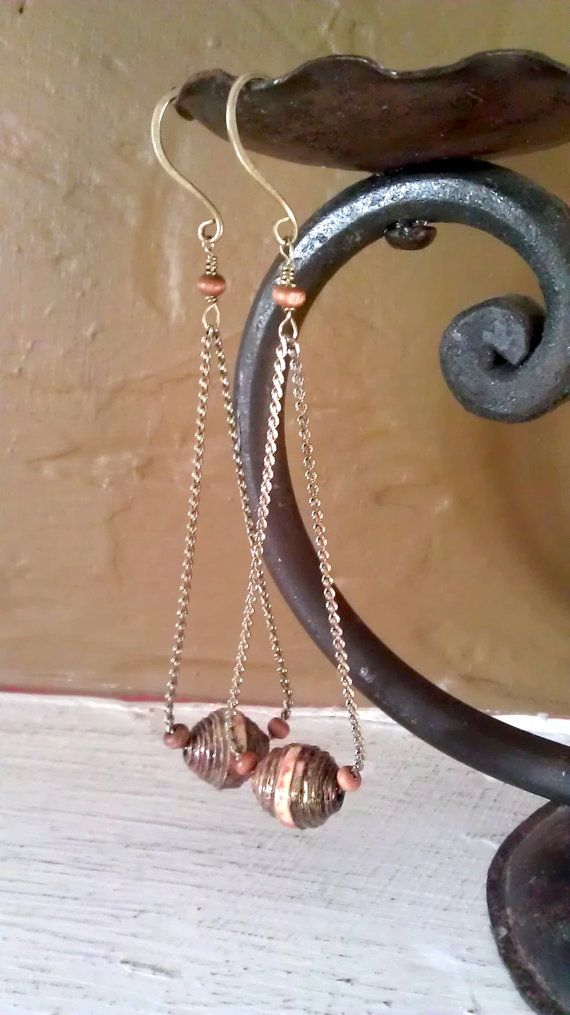 Vintage Bronze Chain and Artistic Paper Beads Earrings on Etsy, $30.00