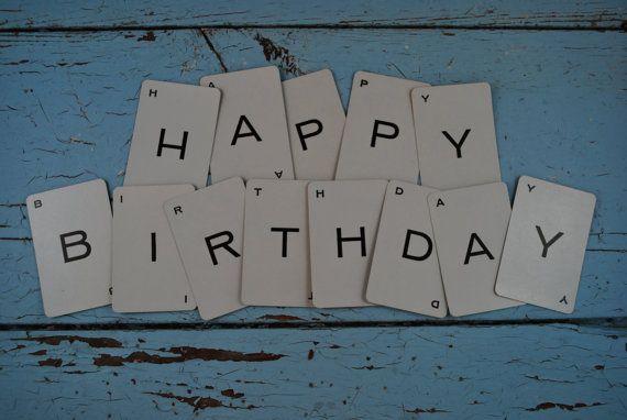 Vintage speelkaarten kaarten: 13 alfabet  Happy Birthday