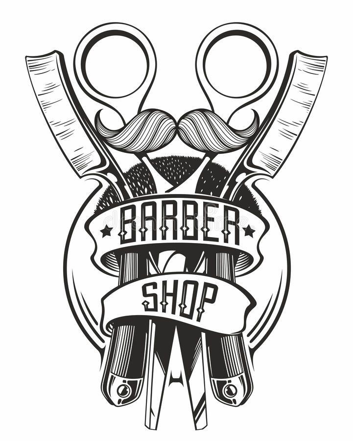 Barber Shop Logo With Razors And Scissors Stock Illustration Logotipo Do Barbeiro Logo De Barbearia Ideias Para Barbearias