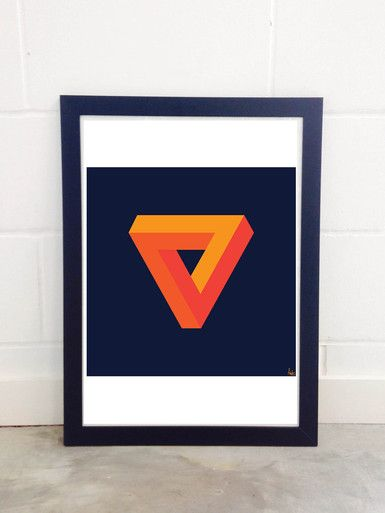 Forever And A Day by Fimbis Abstract 3D triangle print Cool Framed Art Prints London #geometric #orange #navy #infinite #wallart #interiors
