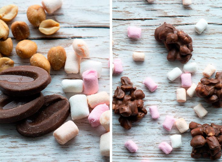 Chokoladekonfekt med skumfiduser og peanuts
