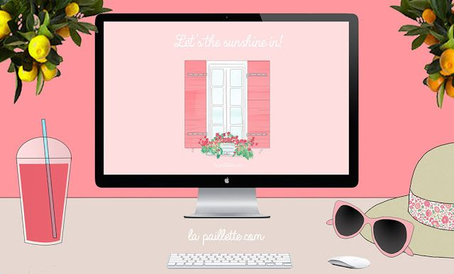 Fonds d'écran balcon fleuri wallpaper desktop summer spring holiday provence illustration illustrator rennes blog pink