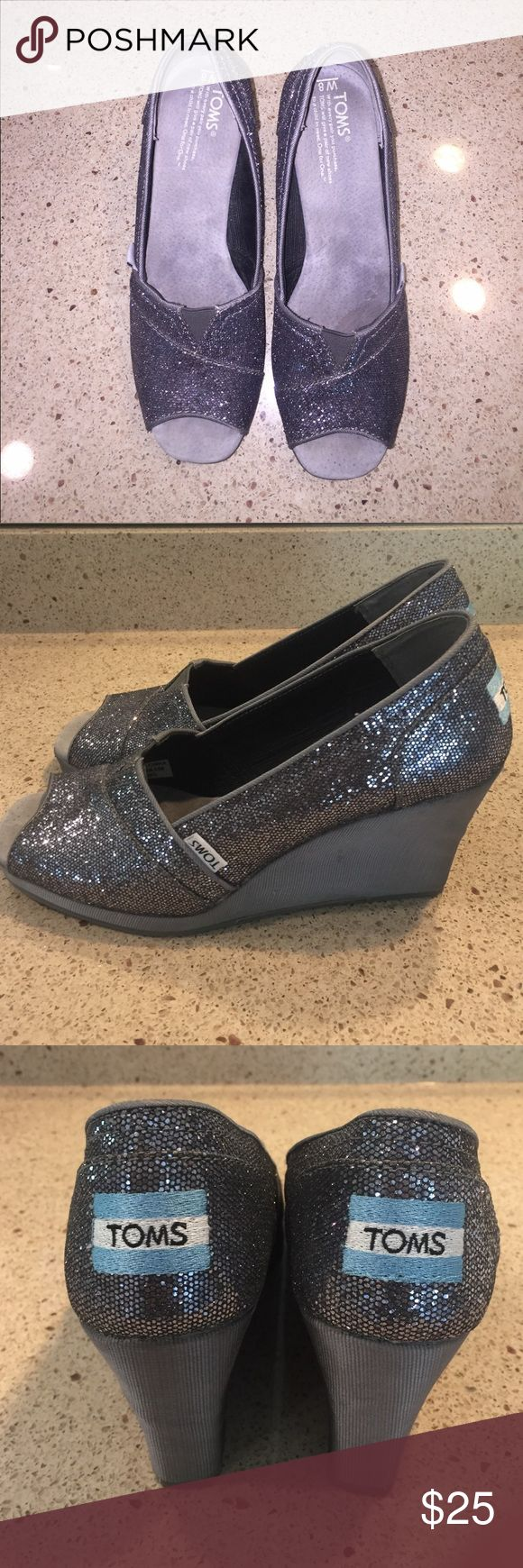 Silver Toms Wedges Sparkly silver Tom's wedges. Worn a handful of times. Great condition. Very comfortable. TOMS Shoes Wedges