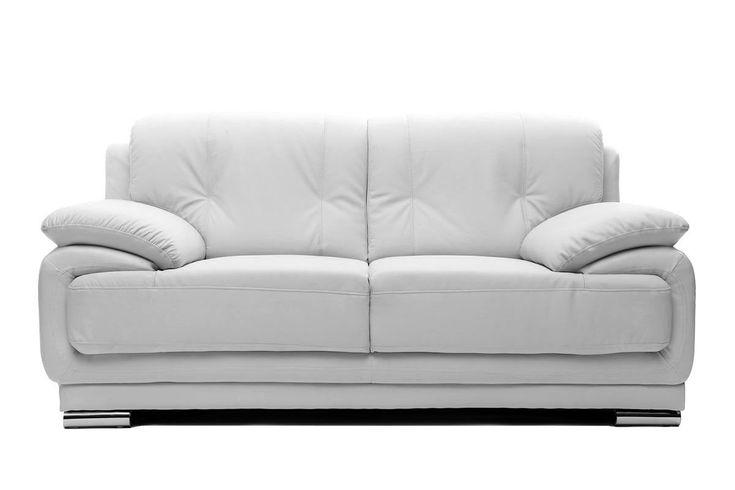 Soldes Canapé Miliboo, achat Canapé cuir design blanc 2 places TAMARA pas cher angle droit prix Soldes Miliboo 527.12 € TTC au lieu de 599 €