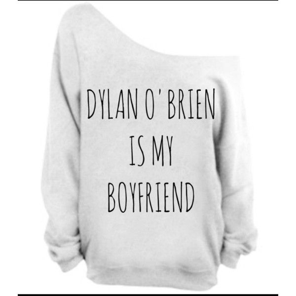Guaranteed Before Christmas Dylan O'brien Is My Boyfriend Tumblr Sweatshirt Teen Wolf Stiles Stili found on Polyvore featuring polyvore, women's fashion, clothing, tops, hoodies, sweatshirts, light yellow, women's clothing, slouchy sweatshirt and slouchy off the shoulder tops