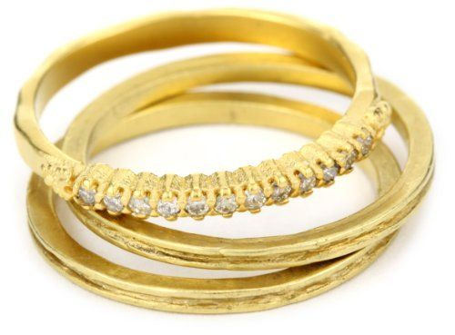 """Avindy Jewelry """"Diamond Stackables"""" Pave with Two Golden Channel Band Avindy Jewelry. $688.00. Stack these channel bands on either side of any of the Avindy """"stackables"""" for a great statement. Be mindful of the nature of gold plate over sterling silver and avoid excessive exposure to harsh chemicals, soaps and water. This ring is crafted in sterling silver and dipped in 18k gold for a soft matte gold finish. Made in United States. Set of two golden channel bands with soft..."""