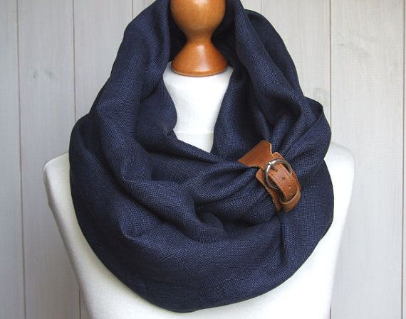 Chunky LINEN Infinity Scarf tube scarf with cuff, pure linen scarf