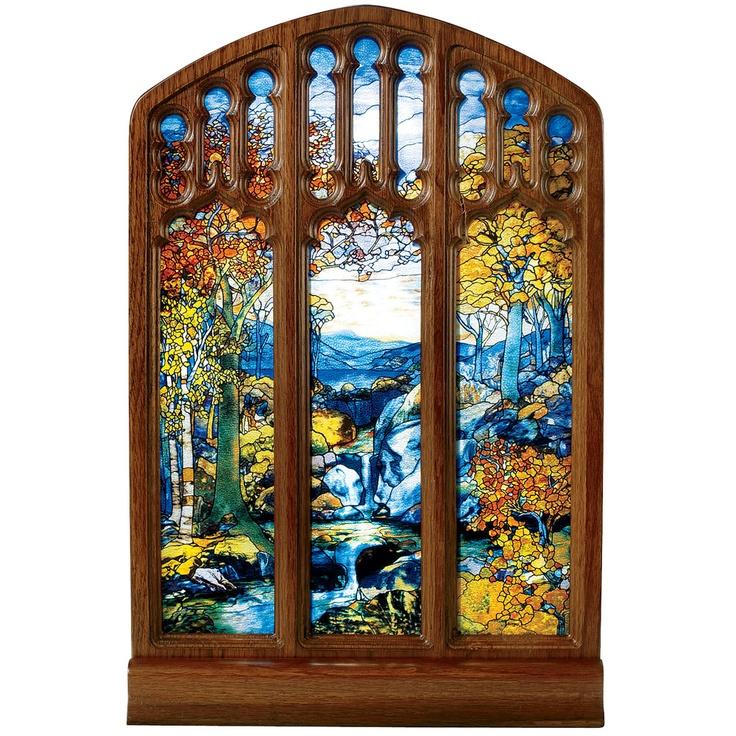Louis C Tiffany Autumn Landscape Glass Panel Home The