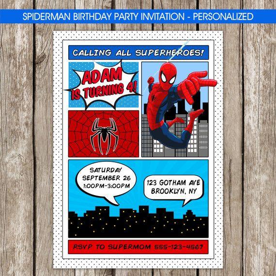 Spiderman Invitation SuperHero Spiderman by LittleMsShutterbug