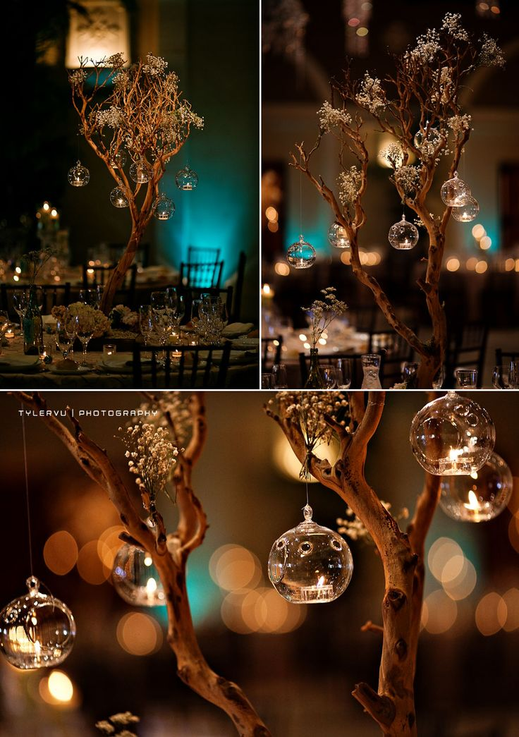 Tree branches centerpiece candles. Designed by Asiel Design